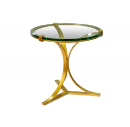 Metal & Tempered Glass Side End Table - Gold