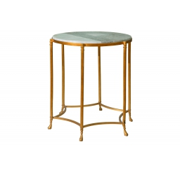 Brass Side Table with Marble Top