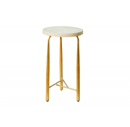 Rosedale Round Snake Skin End Table White