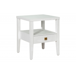 White Nadeau Solid Wood End Table with Storage
